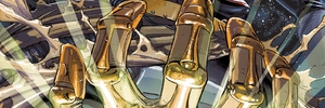 Thanos Battles the Nova Corps in the WARZONES! of INFINITY GAUNTLET #1!